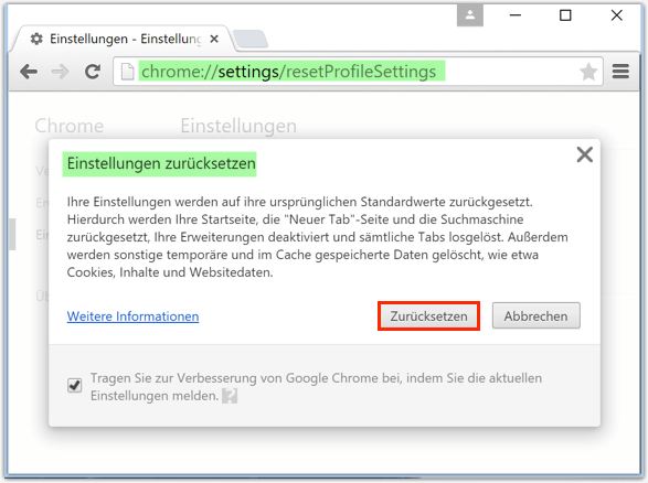 Google Chrome Browser Zuruecksetzen
