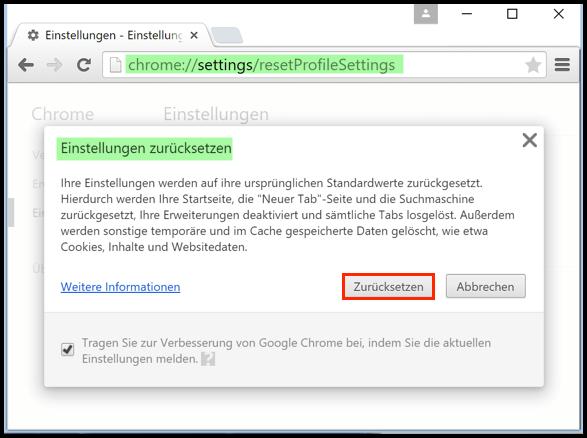 Google Chrome Browser Zuruecksetzen