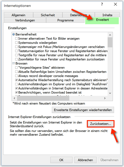 Internet Explorer Zuruecksetzen