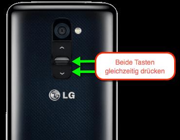 Das sind die Tasten, mit denen man einen Screenshot auf dem LG G2 Smartphone erstellt