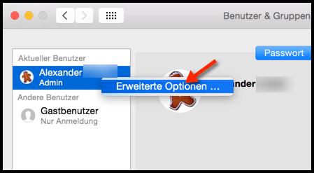 Mac-Benutzer-Erweiterte-Optionen