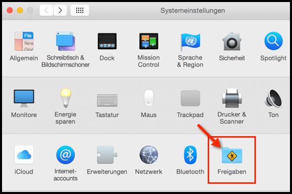 Mac-Freigaben-Einstellungen