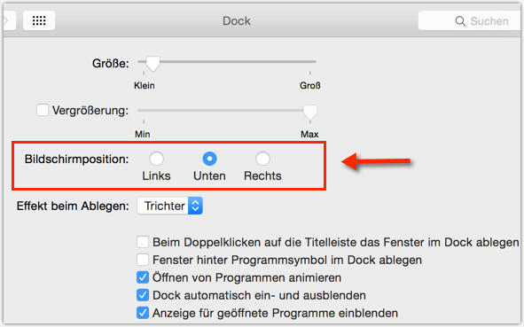 Mac OS X: Dock Recht Links Unten Einstellen