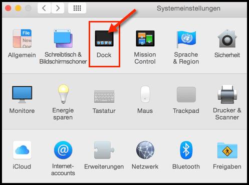 Mac OS X Systemeinstellungen Dock