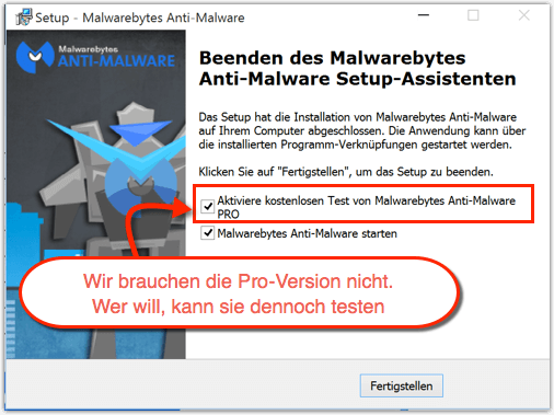 Malwarebytes richtig installieren