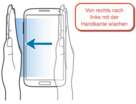 Samsung Galaxy Screenshot mit der Wischgeste