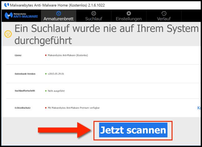 System mit Malwarebytes scannen