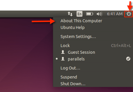 Ubuntu-About-Oeffnen
