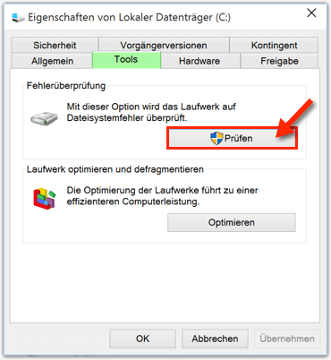 Windows 10 Festplatte reparieren mit Windows-Tools