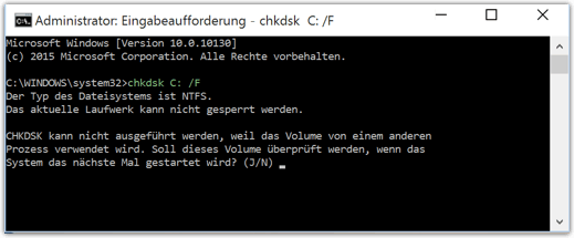 Windows 10: chkdsk /f test