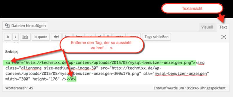 Wordpress Bild wird nicht anklickbar und wird bei Klick nicht im neuen Fenster geöffnet