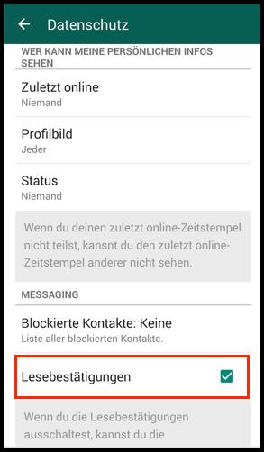 Android WhatsApp Lesebestaetigung deaktivieren
