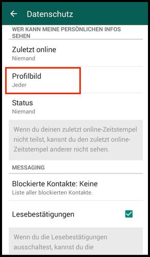 Android WhatsApp Profilbild Nur freunden anzeigen