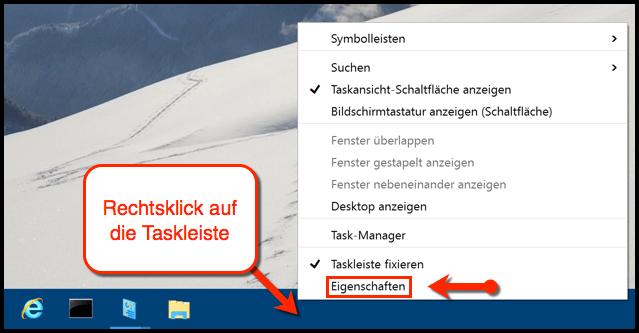 Eigenschaften der Windows 10 Taskleiste