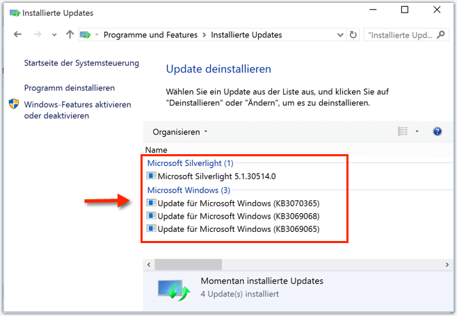 Installierte Updates bei Windows 10