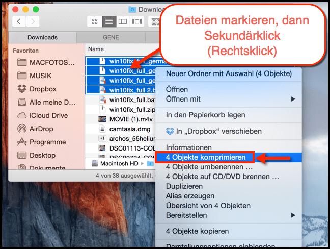MAc OS X Dateien ZIP Komprimierung mit Rechtsklick