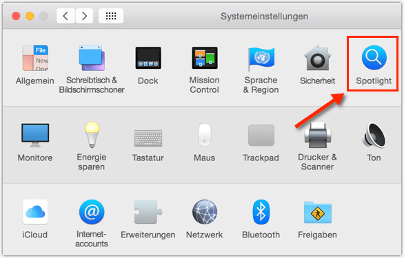 Mac OS X Spotlight-Einstellungen