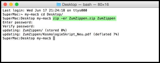 Mac ZIP Verschlüsselung Befehl