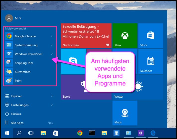 Meistverwendete Programme und Apps bei Windows 10