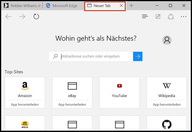 Microsoft Edge Neuer Tab