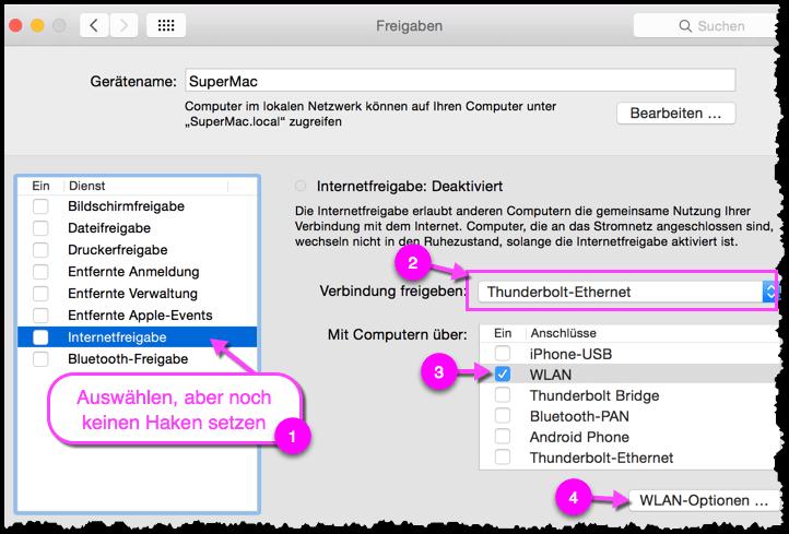 OS X Internetfreigabe Einstellungen