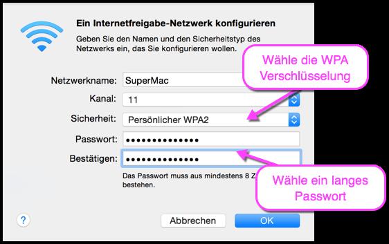 OS X WLAN freigeben