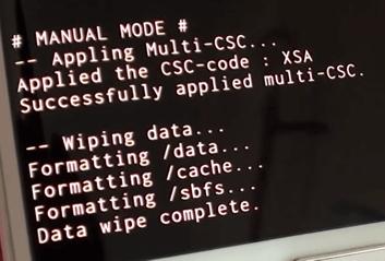 Samsung Data wipe complete