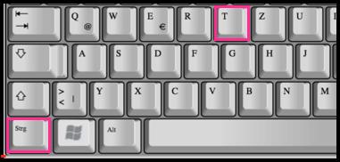 Shortcut STRG + T