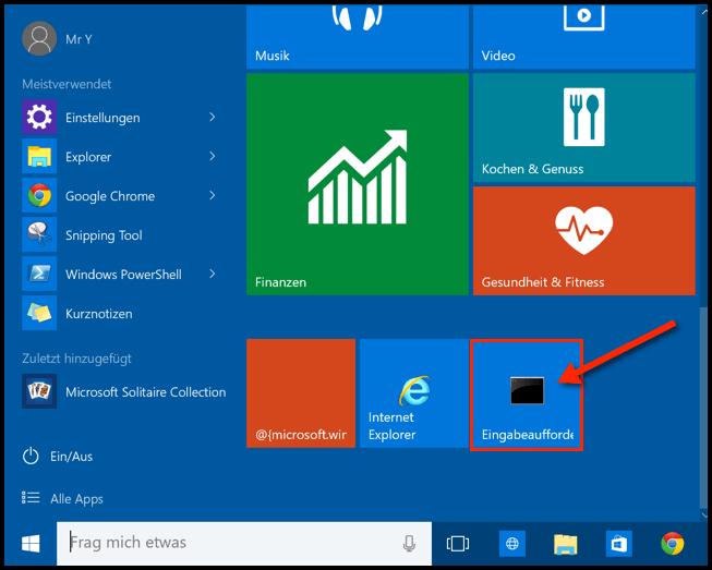 So sieht Windows 10 Kachel für CMD aus