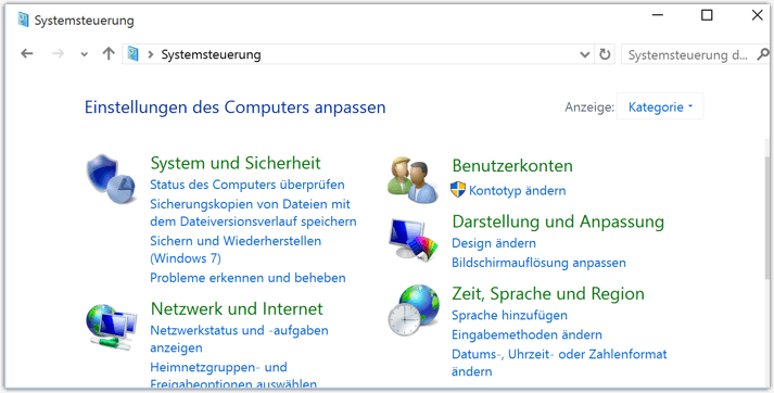 start klassische ansicht windows 10