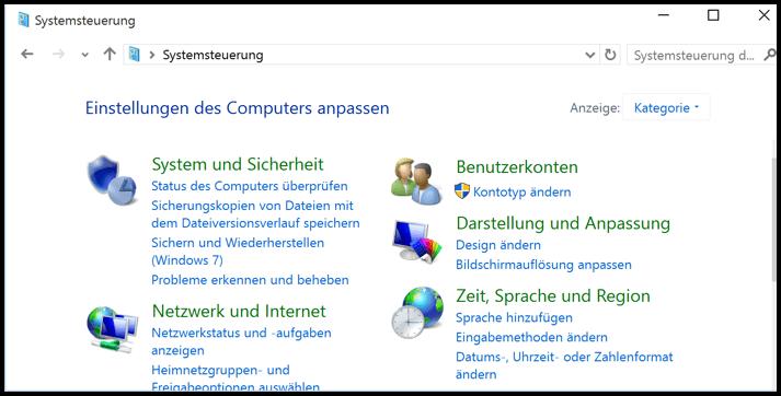 So sieht die Systemsteuerung von Windows 10 aus