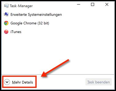 Taskmanager Mehr Details