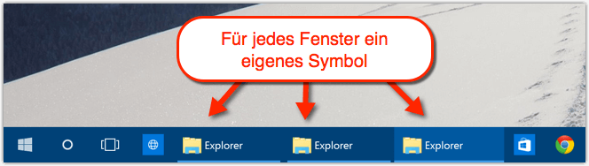 Ungruppierte Symbole in der Taskleiste von Windows 10
