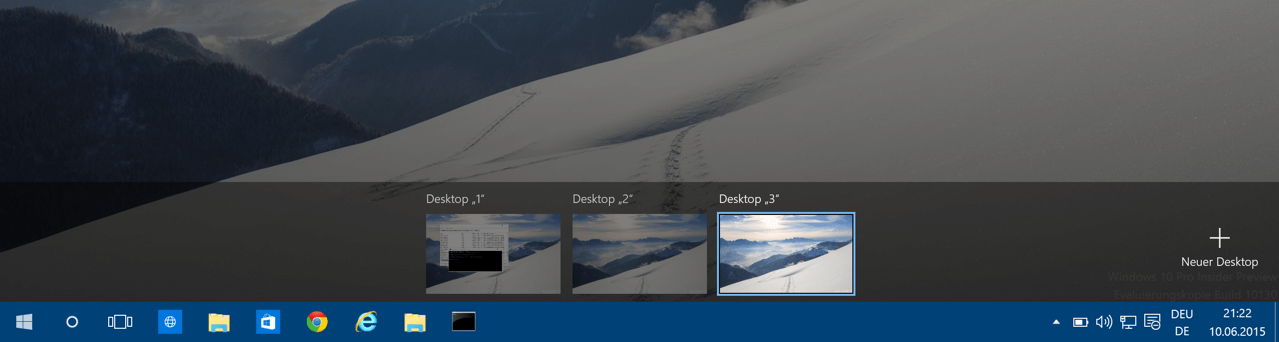 Virtuelle Desktops bei Windows 10