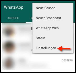 WhatsApp Einstellungen oeffnen
