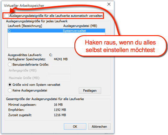 Windows 10 Auslagerungsdatei