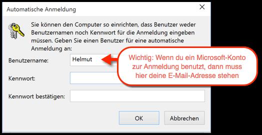 Windows 10 Automatische Anmeldung