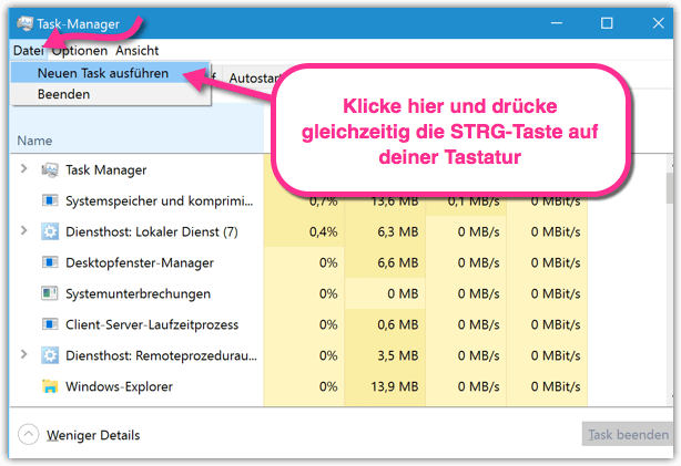 Windows 10 CMD als Admin mit Task-Manager öffnen
