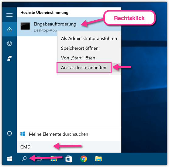 Windows 10 Eingabeaufforderung CMD an Taskleiste anhefte