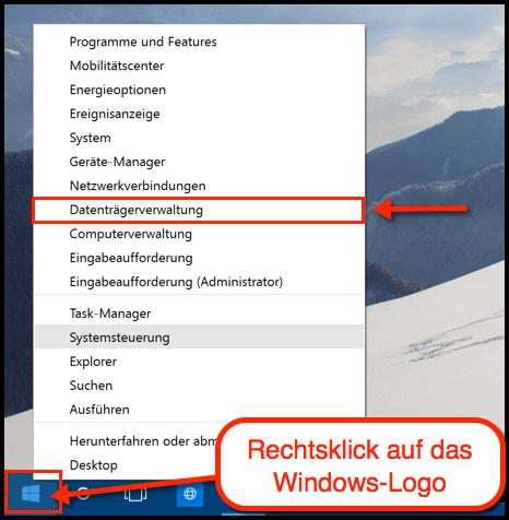 Windows 10 Datentraegerverwaltung oeffnen
