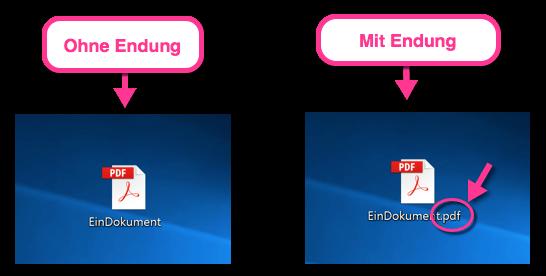 Windows 10 Ein Dokument mit und ohne Dateiendung