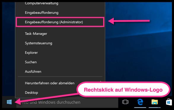 Windows 10 Eingabeaufforderung als Admin öffnen