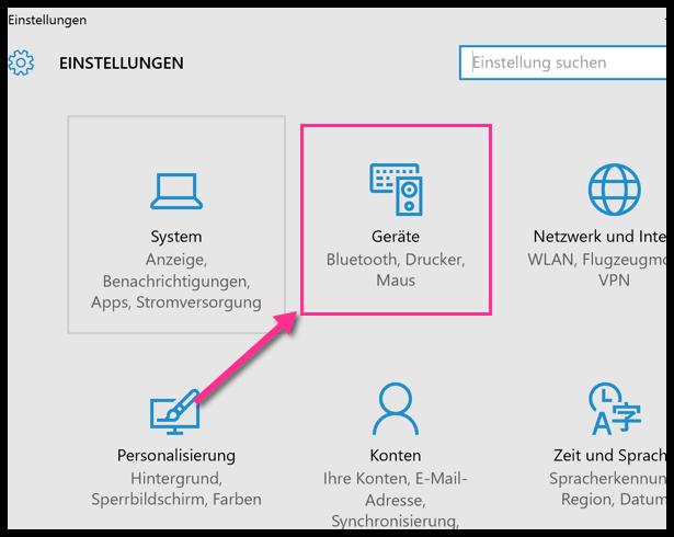 Windows 10 Einstellungen Geräte
