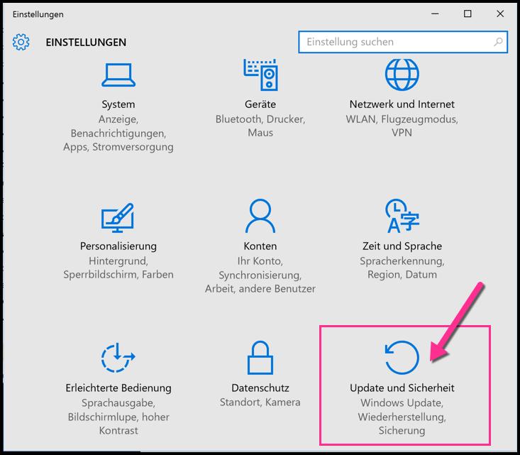 Windows 10 Einstellungen Update und Sicherheit