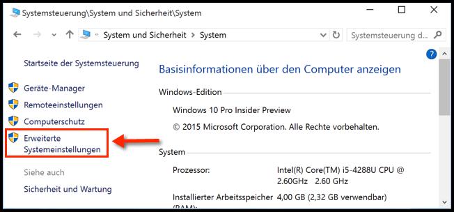Windows 10 Erweiterte Systemeinstellungen