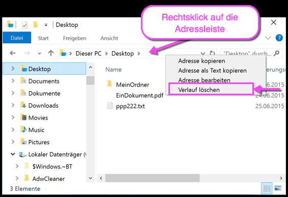 Windows 10 Explorer Verlauf löschen schnell