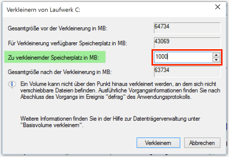 Windows 10 partition verkleinern