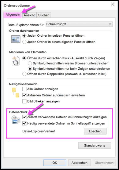 Windows 10 Haeufig oder Zuletzt verwendete Dateien nicht anzeigen
