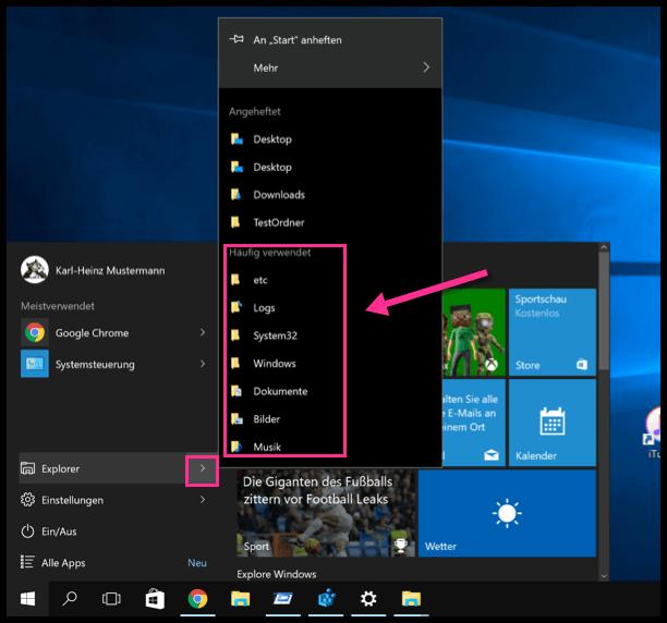 Windows 10 Häufig verwendete Dateien und Ordner im Startmenü