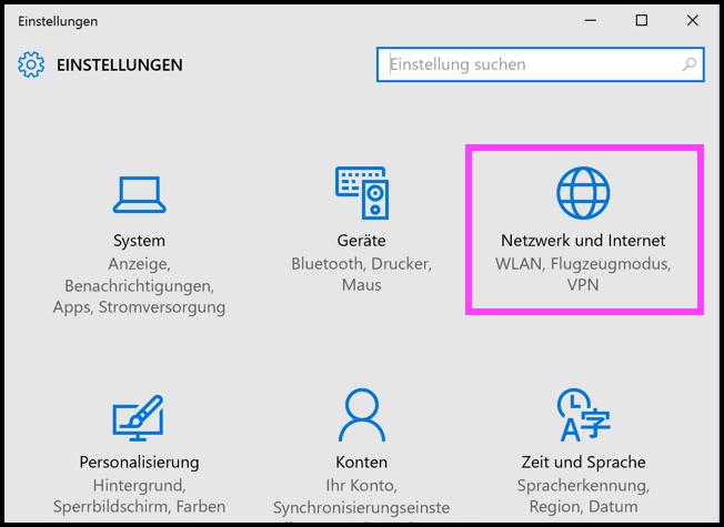 Windows 10 Netzwerk und Internet Einstellungen